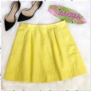 J. Crew Yellow Lace Stripe Inset Cotton Skirt 6